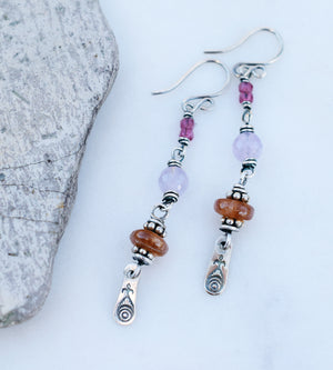 Boho Blessing. Amethyst Sunstone Earrings. Fine Silver Bohemian Jewelry. 62393