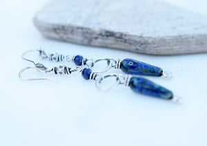 Sapphire Spikes. Hill Tribe Silver Gemstone Dangles. Long Blue Earrings. 72519