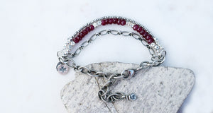 Boho Dragonfly Ruby Gemstone Beaded Silver Bracelet. Hill Tribe Silver. 83191