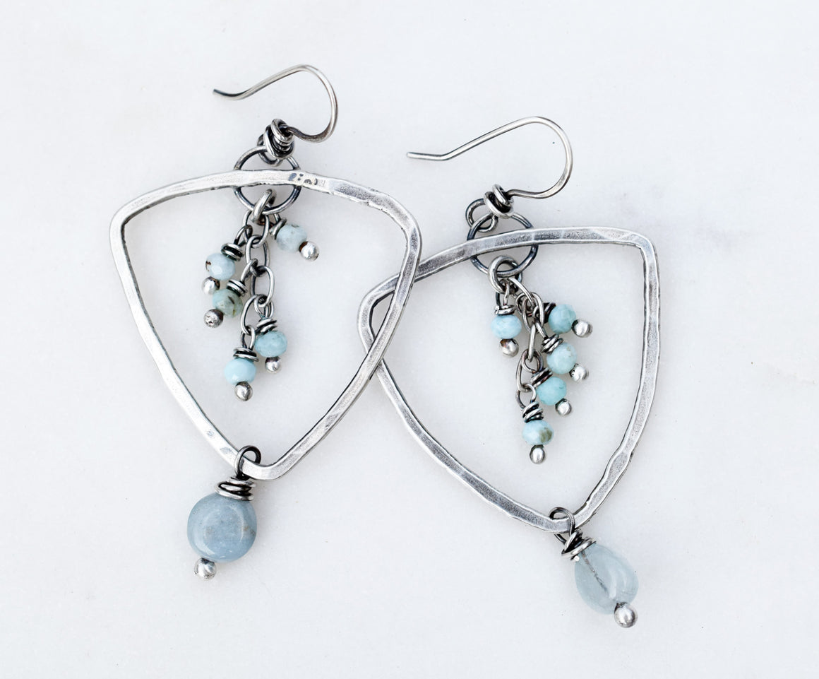 Reserved for A. | Aquamarine and Larimar Gemstone Earrings. Fine Silver Triangle Hoops. 41618B