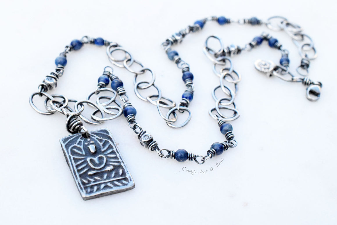Yogi Charm Necklace with Blue Sodalite Stones. Handmade Jewelry.