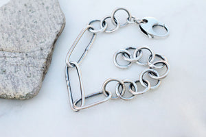 Fine Silver Chain Bracelet. Handcrafted Pure Silver Jewelry. Minimalist. 10619