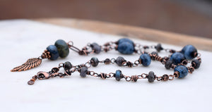 Rusty Angel. Handcrafted Gemstone Necklace. Ceramic Beaded Blue + Copper. 12691