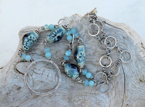 Winter Sky. Silver Ring Necklace. Amazonite Gemstone. Pure Fine Silver. L1619