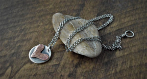 Rustic Heart Charm Necklace Long Silver 30516