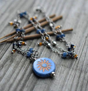 Sapphire Gemstone Beaded Necklace. Fire Woman. Sun Pendant. Blue + Orange. 71919
