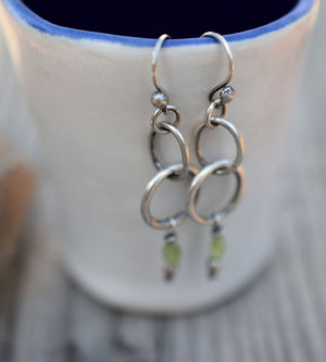 Peridot Gemstone Fine Silver Hoop Earrings. Boho Style Jewelry. 31223