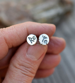 Viking Rune Sterling Silver post earrings. Runic jewelry. Algiz. Raidho.