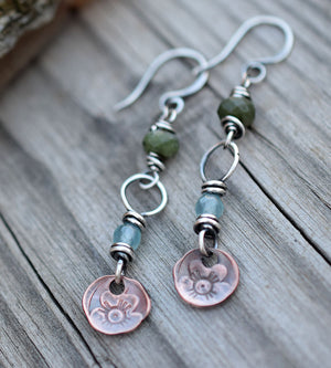Spring Flowers. Aquamarine Gemstone Earrings. Sterling Silver w Copper.