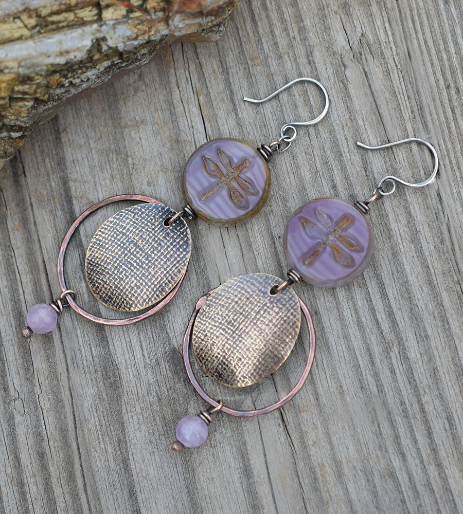 Purple Dragonfly Earrings. Amethyst Gemstones. Rustic Bohemian Hoops. 23302