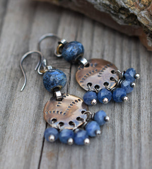 Blue Gypsy Mama. Kyanite Gemstone Boho Style Earrings.