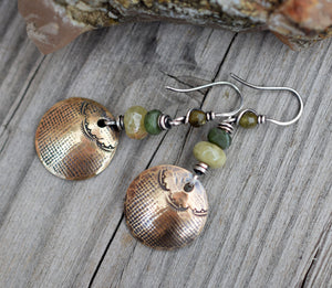 Olive Gemstone. Bohemian Style. NuGold. Printed Charm Earrings.