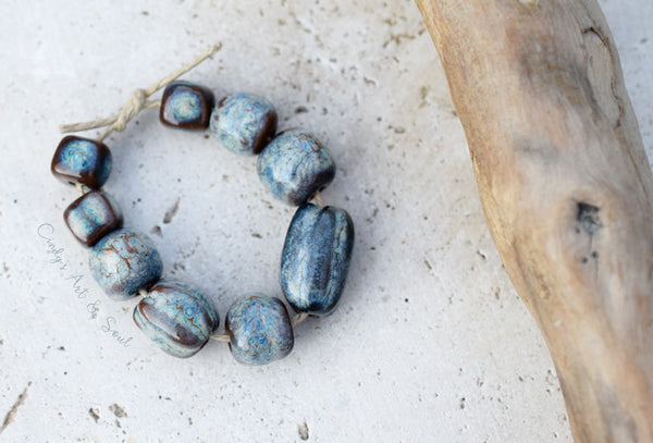 Blue Sepia Dark Textured Bead Set. Handcrafted Ceramic Bead. 21714