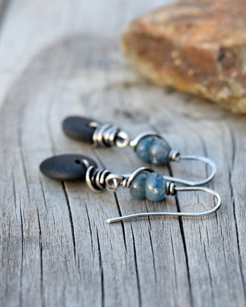 Blue Gemstone Earrings. Black River Rock. Sterling Silver. 12917