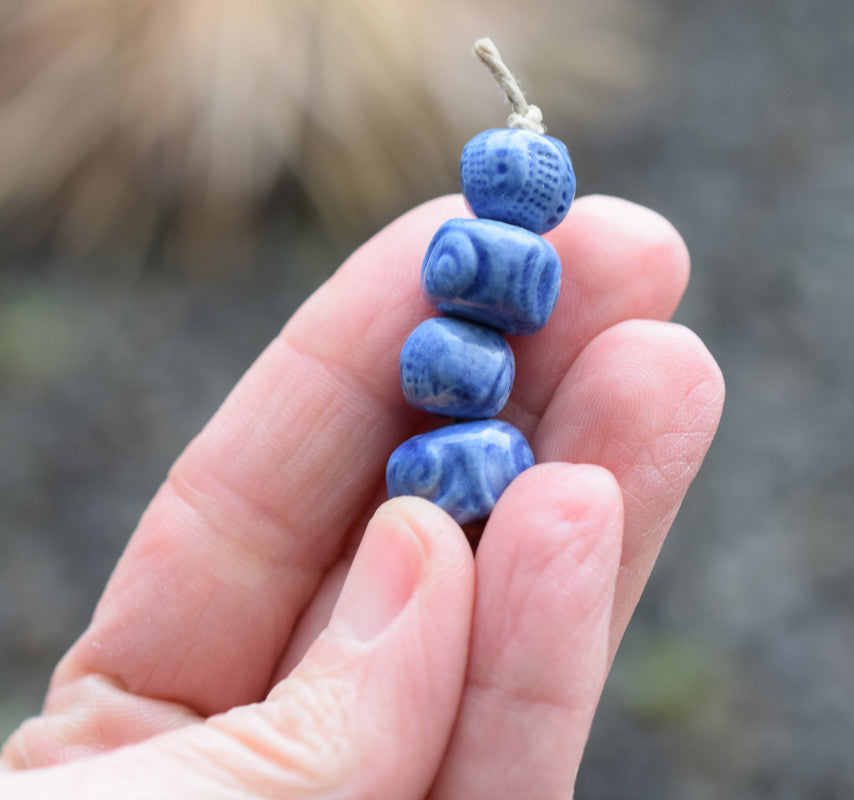 Blue Ceramic Beads. Matte Blue Spirals Set 2178
