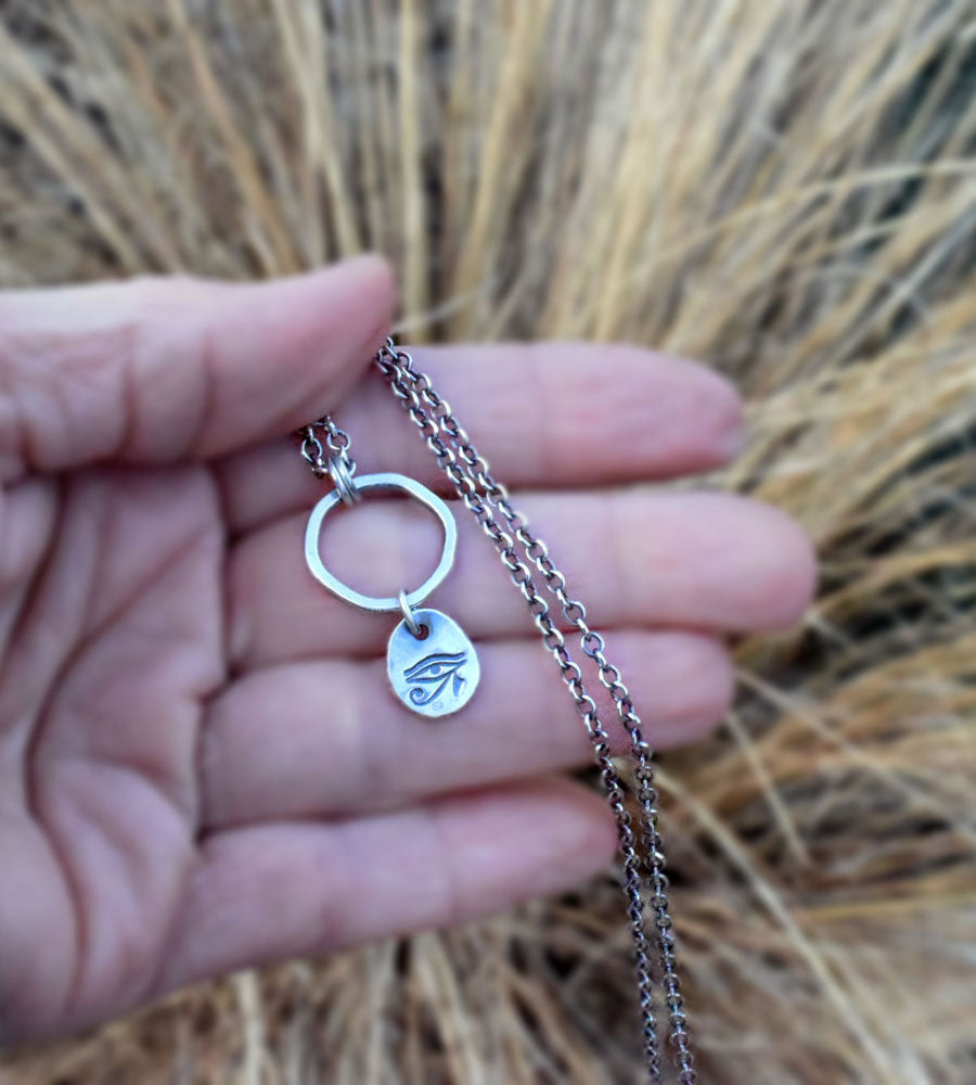Eye of Ra. Egyptian Sun God. Protection Eye Symbol. Pure Silver Charm Necklace.