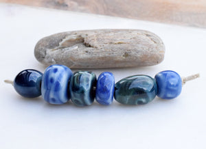 Blue Ceramic Beads. Handcrafted Art Beads. Porcelain Ceramic Clay Beads. Pacific Northwest USA.