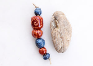 Red + Blue Ceramic Bead Set. Handmade Pottery Art Beads. Cindy's Art and Soul Beads.