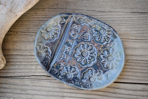 Peace Soap Dish Slab Built Pottery. Home Decor.