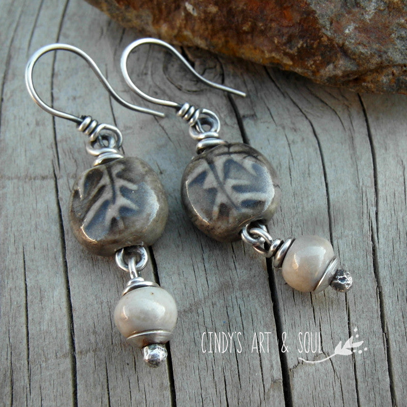 Gray Leaf Earrings Handmade Ceramic Cindys Art and Soul Jewelry