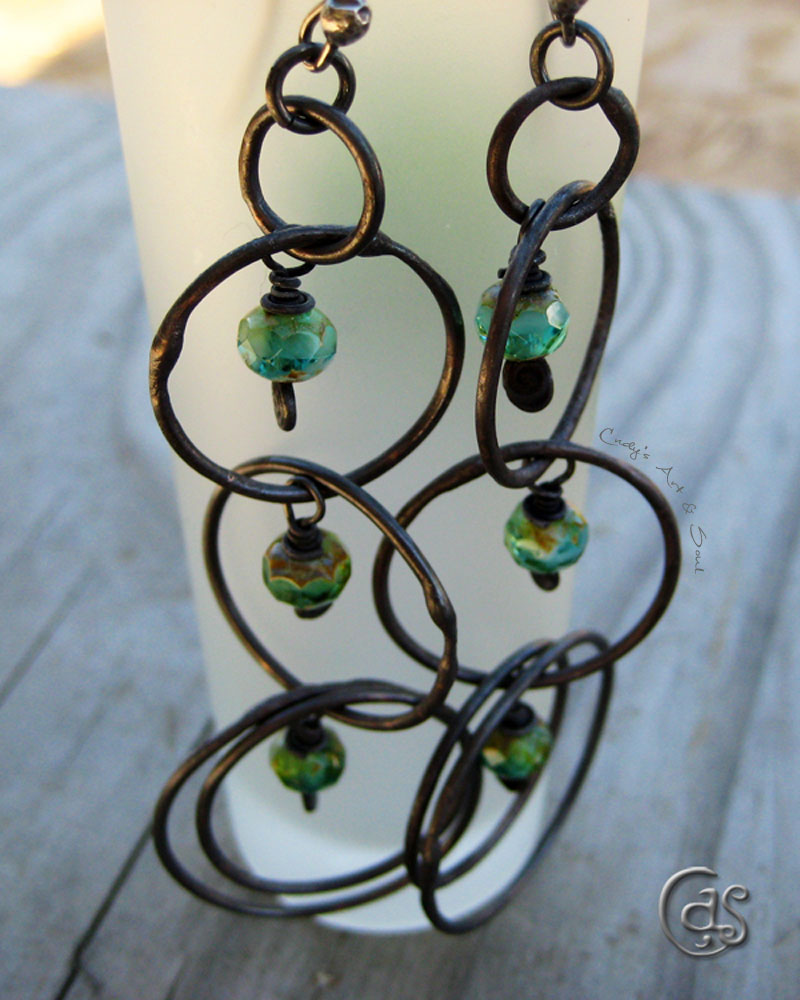 Green River Long Copper Beaded Hoops