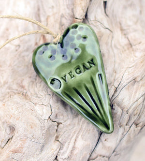 Vegan. Compassion. For Animals. Green Porcelain Ornament. Handmade Pottery.