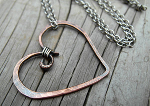 Metal Heart Necklace Pure Copper Heart Charm