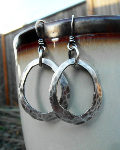 Silver Hoop Earrings. Pure Fine Silver Hoops. 111316