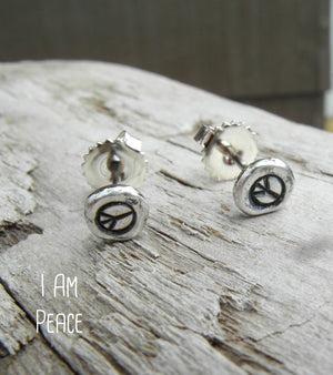peace sign earrings. handmade silver nugget post earrings. by Cindy's Art and Soul Jewlry. Boho style jewelry.