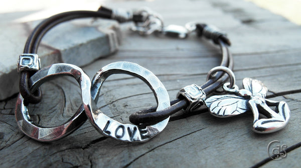 LOVE Infinity Charm Bracelet Handcrafted Silver 07251 Leather