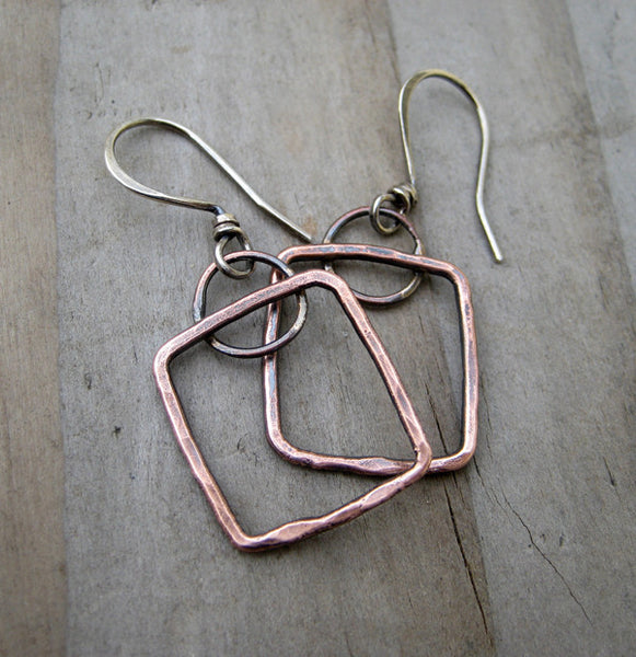 Copper Squared Earrings by Cindy's Art & Soul