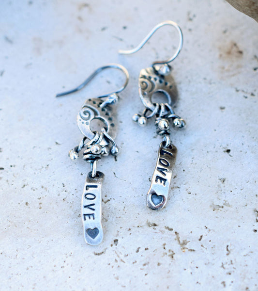Love. Silver Nugget Earrings. Cindy's Art and Soul Jewelry.