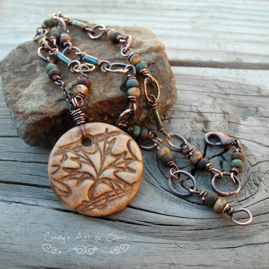 Autumn leaf handmade ceramic beaded chain necklace. Handmade Boho style Designer Jewelry.