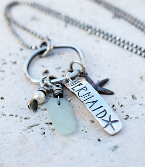 Personalized Sea Glass and Mermaid Necklace. Boho Jewelry.