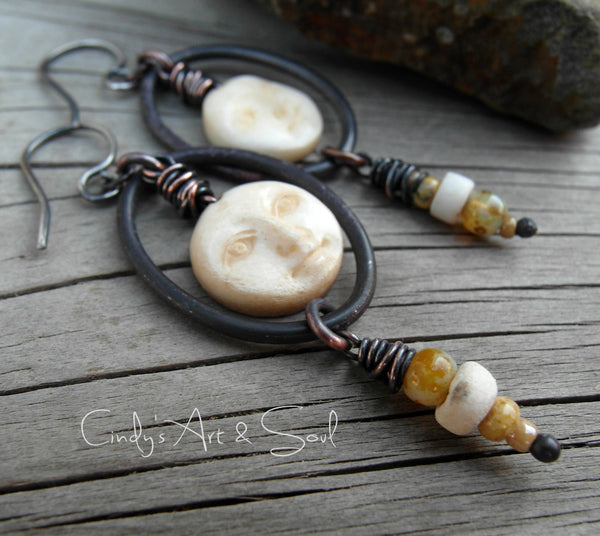 Rustic Moon Face Earrings with Copper Hoops by Art & Soul Jewelry