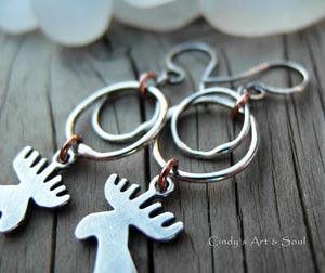 Fine Silver Hoops. Sterling Silver Moose Earrings. Winter Lodge Jewelry. 12319