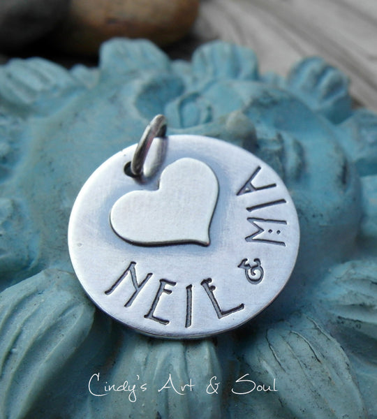 Personalized Sterling Silver Heart Charm Key fob