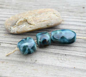 Green Beads Teal Beads Dark Blue Heart Sets 10 14 and 32 Reserved