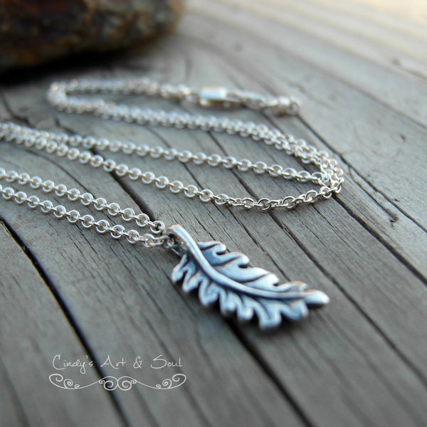 Oak Leaf Necklace. Handcrafted Sterling Silver. Tree Jewelry. 925 Sterling Silver. 10316