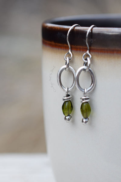 Vintage Czech Glass Hoops. Fine Silver Hoop Earrings. Olive Green. 10216