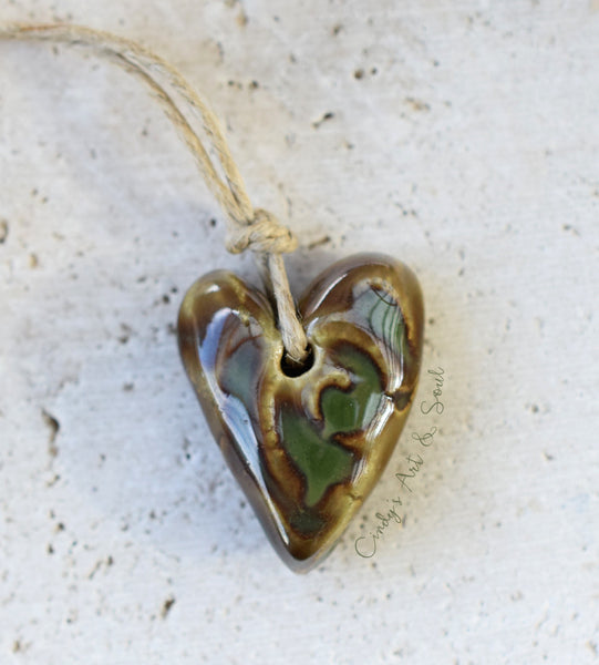 Ceramic Heart Bead in Olive Swirl. Handmade Beads. 21729