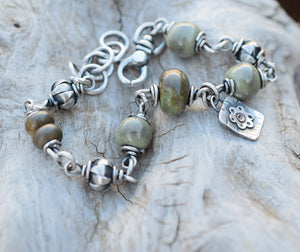Olive Beaded Bracelet Gemstones + Hill Tribe Silver