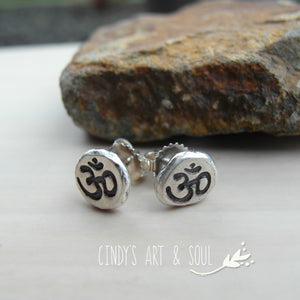 Om Earrings Oxidized Polished Cindy's Art & Soul