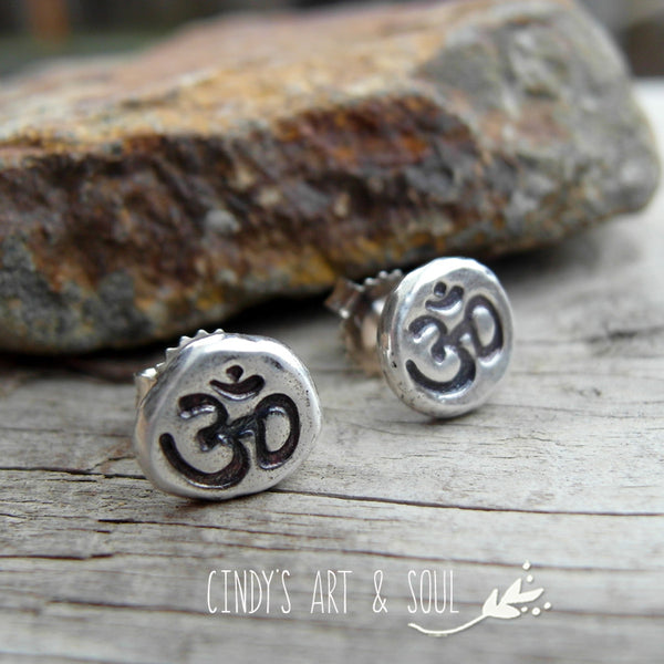 Om Earrings Silver Nugget Post