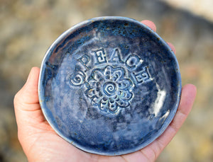 PEACE Deep Blue Flower Soap Dish | Ceramic