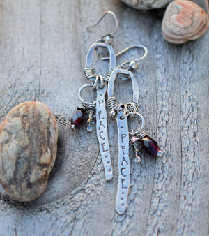 Peace and Love earrings. Handmade Boho Jewelry by designer Cindy Pack