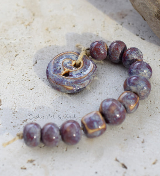 Plum Mix. Handmade Ceramic Beads. Purple Beads. Set 21738