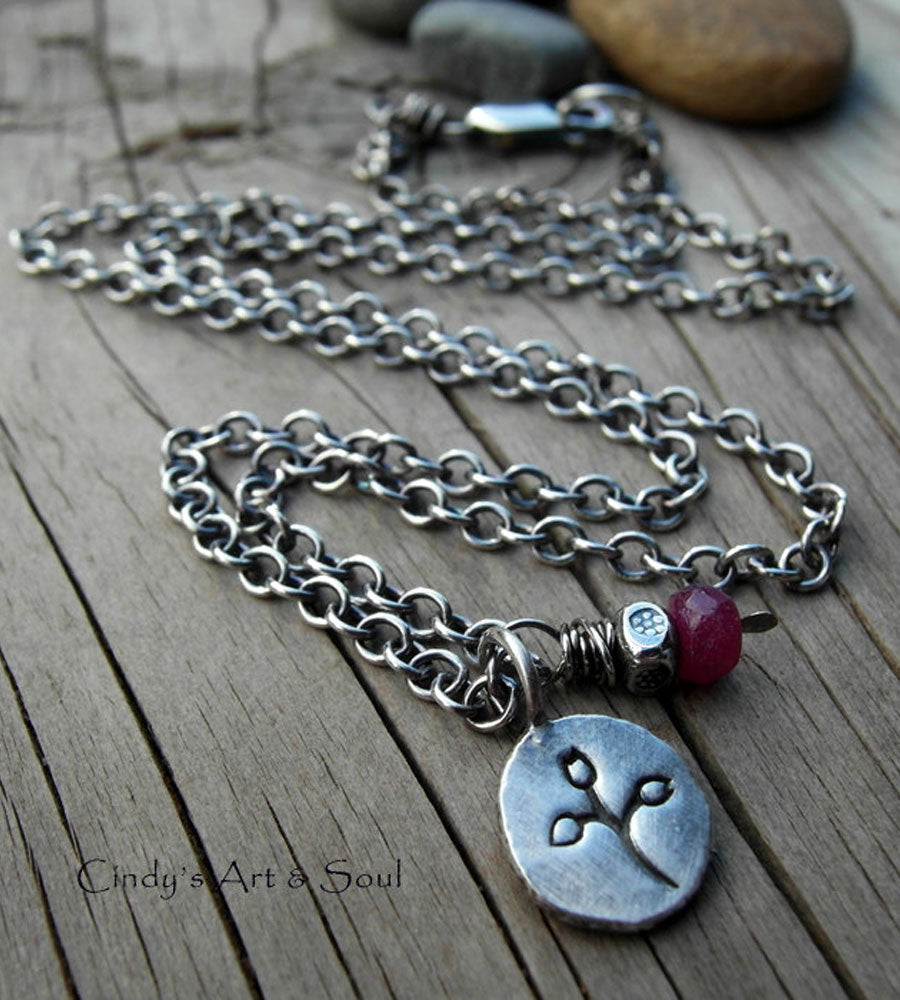 Natural Ruby Gemstone Necklace. Silver Nugget Flower Charm Necklace. July Birthstone.