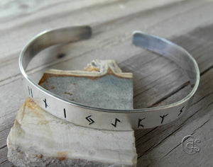Custom Hand Stamped 925 Sterling Silver Cuff Bracelet with Viking Runes.