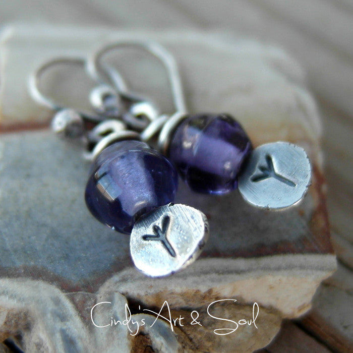 Custom Silver Runic Earrings. Personalized Rune Jewel;ry. Algiz Rune Earrings Purple